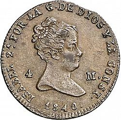 Large Obverse for 4 Maravedies 1840 coin