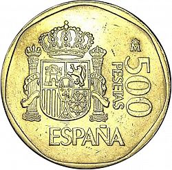 Large Reverse for 500 Pesetas 1988 coin