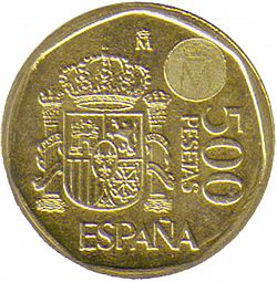 Large Reverse for 500 Pesetas 1999 coin