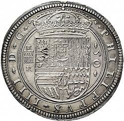 Large Obverse for 50 Reales 1635 coin