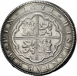 Large Reverse for 50 Reales 1633 coin