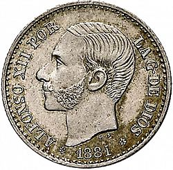 Large Obverse for 50 Céntimos 1881 coin