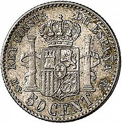 Large Reverse for 50 Céntimos 1881 coin