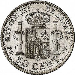 Large Reverse for 50 Céntimos 1910 coin