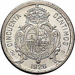 Large Reverse for 50 Céntimos 1926 coin
