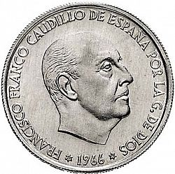 Large Obverse for 50 Céntimos 1966 coin