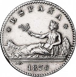 Large Obverse for 50 Céntimos 1869 coin
