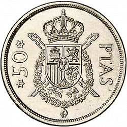 Large Reverse for 50 Pesetas 1975 coin