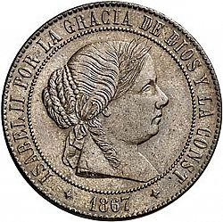 Large Obverse for 5 Céntimos Escudo 1867 coin