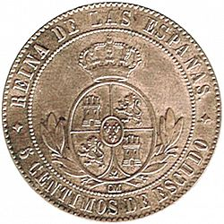 Large Reverse for 5 Céntimos Escudo 1867 coin