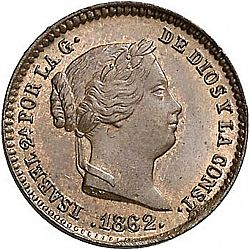 Large Obverse for 5 Céntimos Real 1862 coin