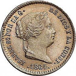 Large Obverse for 5 Céntimos Real 1864 coin