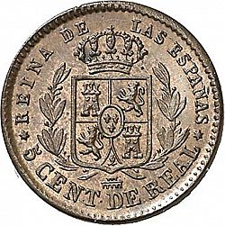Large Reverse for 5 Céntimos Real 1862 coin