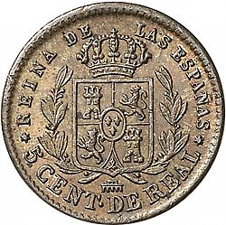 Large Reverse for 5 Céntimos Real 1864 coin