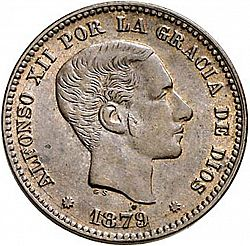 Large Obverse for 5 Céntimos 1879 coin