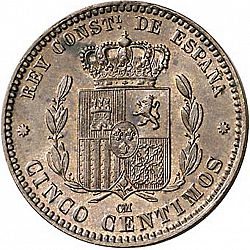 Large Reverse for 5 Céntimos 1879 coin