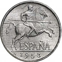 Large Obverse for 5 Céntimos 1953 coin