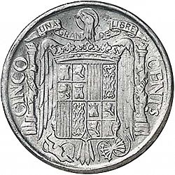 Large Reverse for 5 Céntimos 1940 coin