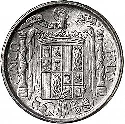 Large Reverse for 5 Céntimos 1945 coin