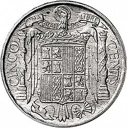 Large Reverse for 5 Céntimos 1953 coin