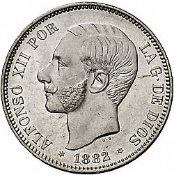 Large Obverse for 5 Pesetas 1882 coin