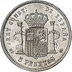 Large Reverse for 5 Pesetas 1882 coin
