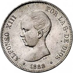 Large Obverse for 5 Pesetas 1888 coin