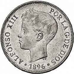 5 Pesetas From 1896 Spain 1886 31 Alfonso Xiii The