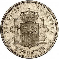 Large Reverse for 5 Pesetas 1894 coin