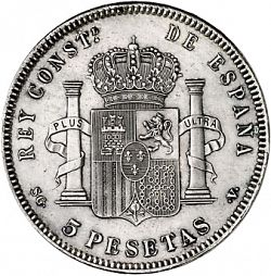 Large Reverse for 5 Pesetas 1899 coin