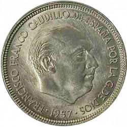 Large Obverse for 5 Pesetas 1957 coin