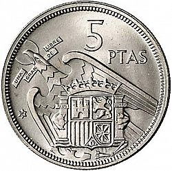 Large Reverse for 5 Pesetas 1957 coin
