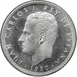 Large Obverse for 5 Pesetas 1980 coin