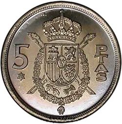 Large Reverse for 5 Pesetas 1975 coin