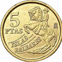 Large Reverse for 5 Pesetas 1997 coin