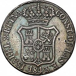 Large Obverse for 6 Cuartos 1843 coin