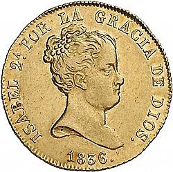 Large Obverse for 80 Reales 1836 coin