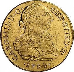 Large Obverse for 8 Escudos 1784 coin