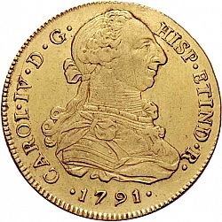 Large Obverse for 8 Escudos 1791 coin