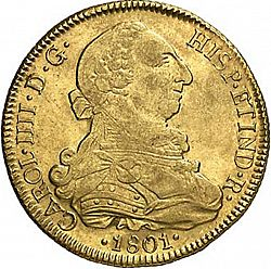 Large Obverse for 8 Escudos 1801 coin