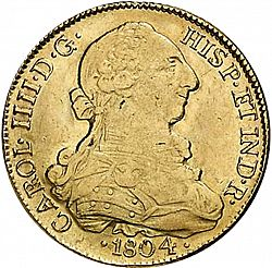 Large Obverse for 8 Escudos 1804 coin
