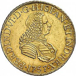 Large Obverse for 8 Escudos 1757 coin