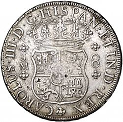 Large Obverse for 8 Reales 1760 coin