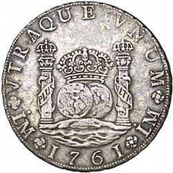Large Obverse for 8 Reales 1761 coin