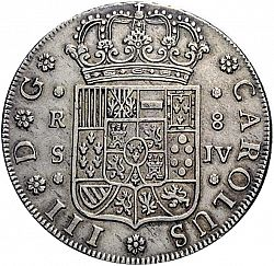 Large Obverse for 8 Reales 1762 coin