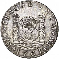 Large Reverse for 8 Reales 1761 coin