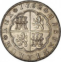 Large Reverse for 8 Reales 1762 coin
