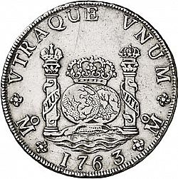 Large Reverse for 8 Reales 1763 coin