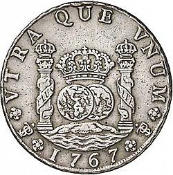 Large Reverse for 8 Reales 1767 coin