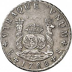 Large Reverse for 8 Reales 1768 coin